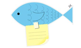 Biglietto Pesce Post it di Cartoline.net