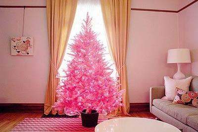 Albero di natale sintetico di colore rosa