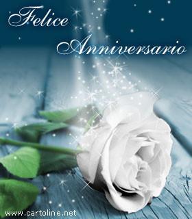 Felice Anniversario Con Rosa Bianca