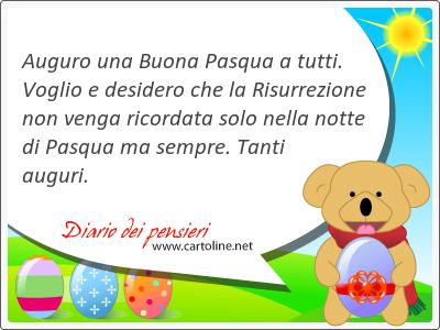 Auguro una Buona Pasqua a tutti. Voglio e desidero che la Risurrezione non venga ricordata solo nella notte di Pasqua ma sempre. Tanti auguri.