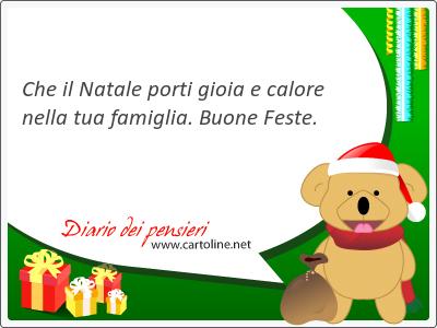 Che il Natale porti gioia e calore nella tua famiglia. Buone Feste.