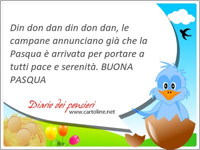 Din don dan din don dan, le campane annunciano già che la Pasqua è arrivata per portare a tutti pace e <strong>serenità</strong>. BUONA PASQUA