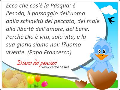 Ecco che cos'è la Pasqua: è l'esodo, il passaggio dell'uomo dalla schiavitù del peccato, del male alla libertà dell'amore, del bene. Perché Dio è vita, solo vita, e la sua gloria siamo noi: l'uomo vivente.