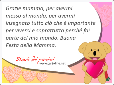 Grazie mamma, per avermi messo al mondo, per avermi insegnato tutto ciò che è importante per viverci e soprattutto perché fai parte del mio mondo. Buona Festa della Mamma.