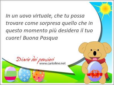 In un uovo virtuale, che tu possa trovare come sorpresa quello che in questo momento più desidera il tuo cuore! Buona Pasqua