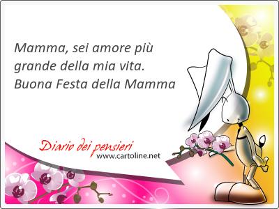 Mamma, sei amore più grande della mia vita. <strong>Buona</strong> Festa della Mamma