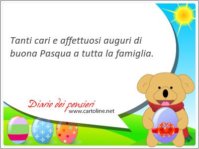 Tanti cari e affettuosi auguri di buona Pasqua a tutta la famiglia.