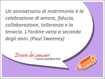 Un anniversario di <strong>matrimonio</strong> è la celebrazione di amore, fiducia, collaborazione, tolleranza e la tenacia. L'ordine varia a seconda degli anni.