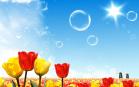 Sfondo desktop di fiori - Tulipani gialli e rossi